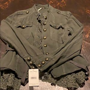 Free people khaki green jacket with lace trim